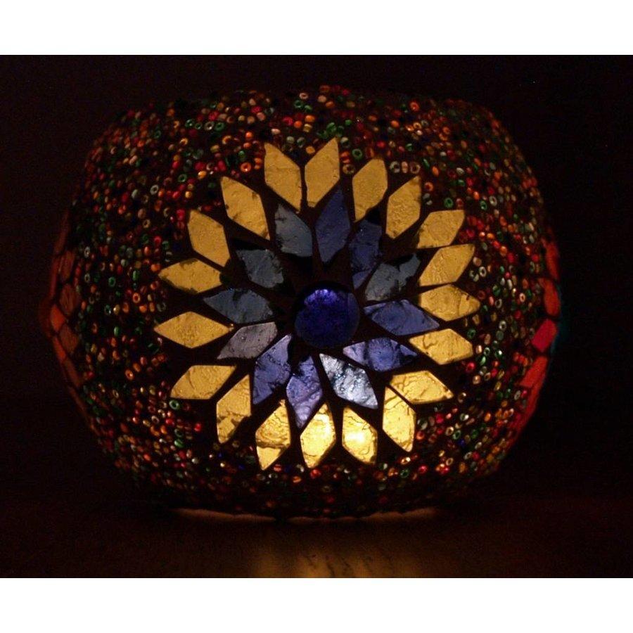 Waxinelichthouder mozaïek multicolor kraal