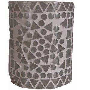 Waxinelichthouder mozaïek transparant traditioneel design cilinder