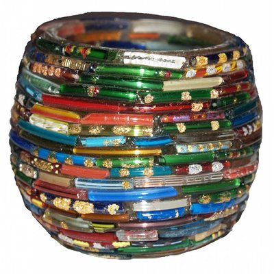 Waxinelichthouder bangles multi color rond