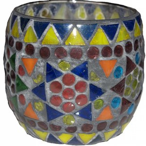 Waxinelichthouder mozaïek bol multi color grijs
