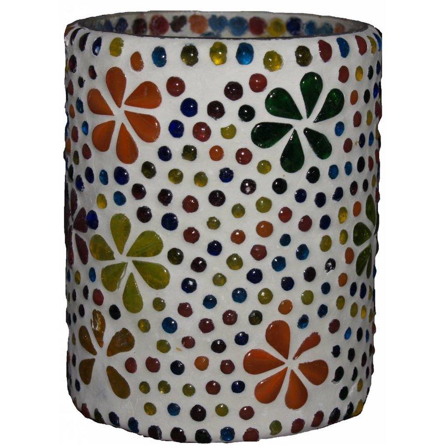 Waxinehouder multi color bloem cilinder large