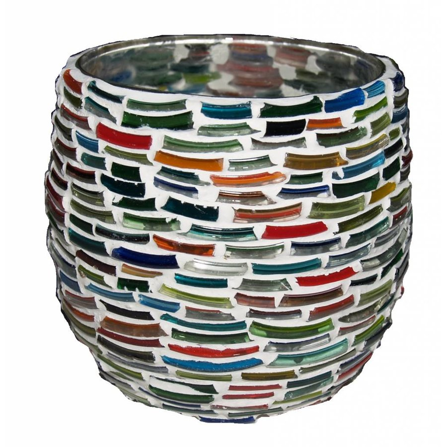 Waxinelichthouder multi color bangles rond