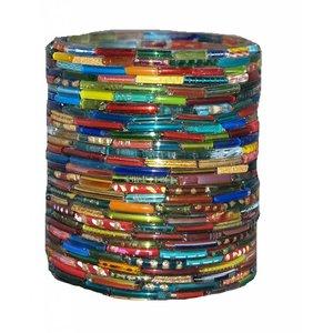 Waxinehouder multi color bangles cilinder