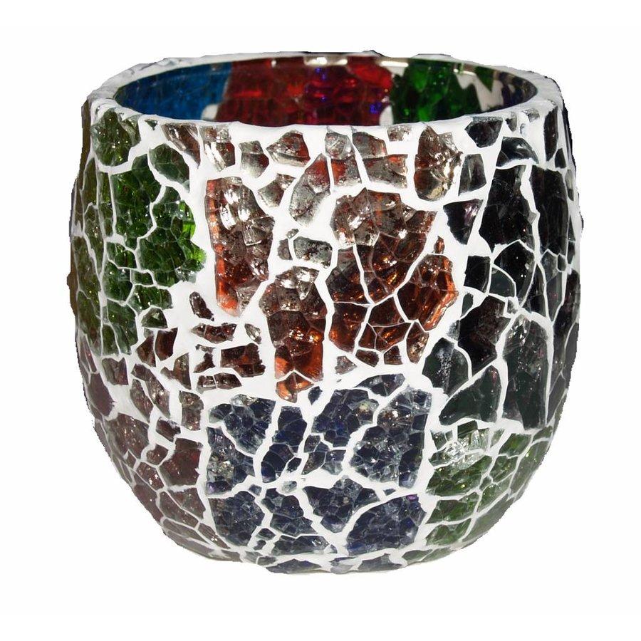 Waxinehouder mozaïek craquelle multi color