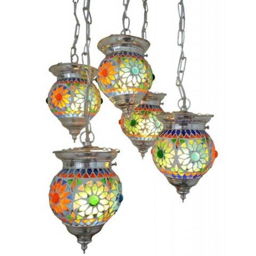 Hanglamp 5 bol mozaïek multi color turkisch design