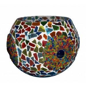 Waxinelichthouder mozaïek craquele en kleur bangles