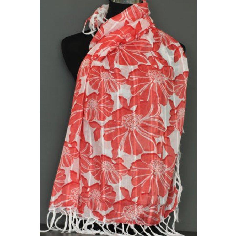 Omslagdoek rode bloemen