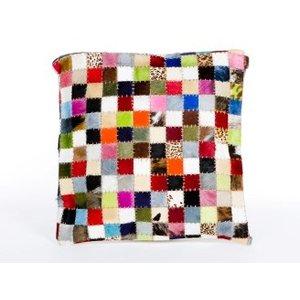 Kussen vierkant large leer multi colour blokjes