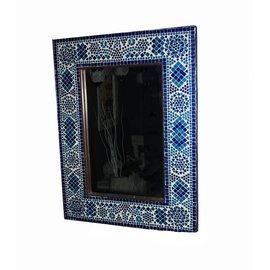 Spiegel mozaiek blauw