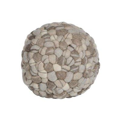 Poef wol naturel steen motief bolvorm