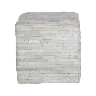 Poef vierkant wit reepjes gerecycled leer