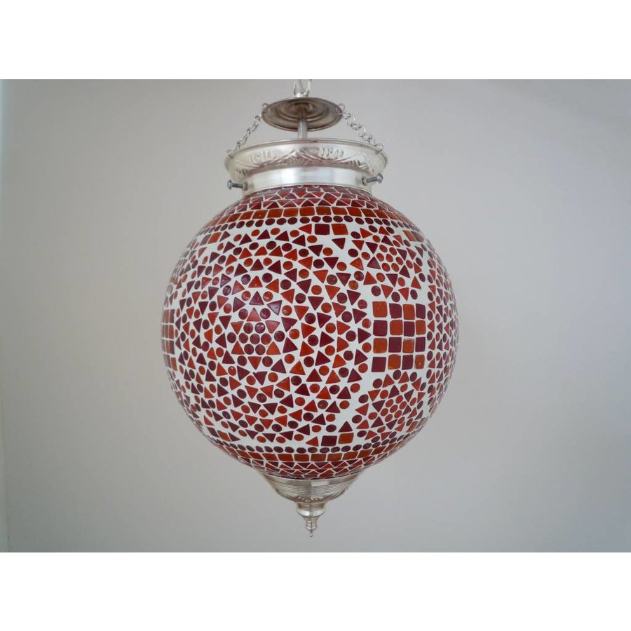 Gezellige hanglamp glasmozaïek rood oranje traditioneel design