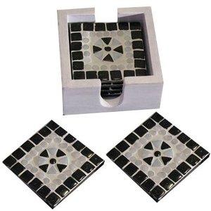Onderzetters mozaiek zwart wit
