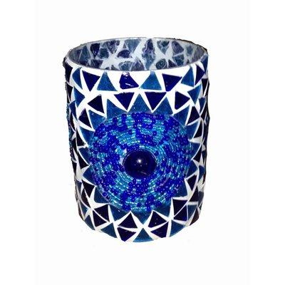 Waxinelichthouder mozaïek cilinder blauw beads en triangles
