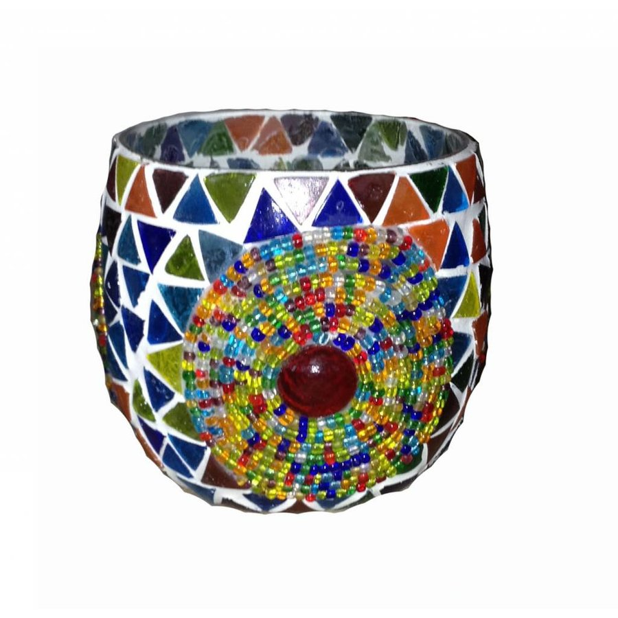 Waxinehouder mozaïek bol multi colour beads en triangles