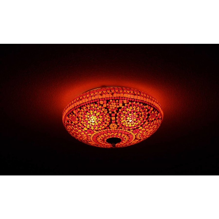 Kleurrijke lamp - Plafonnière glas mozaïek rood traditioneel