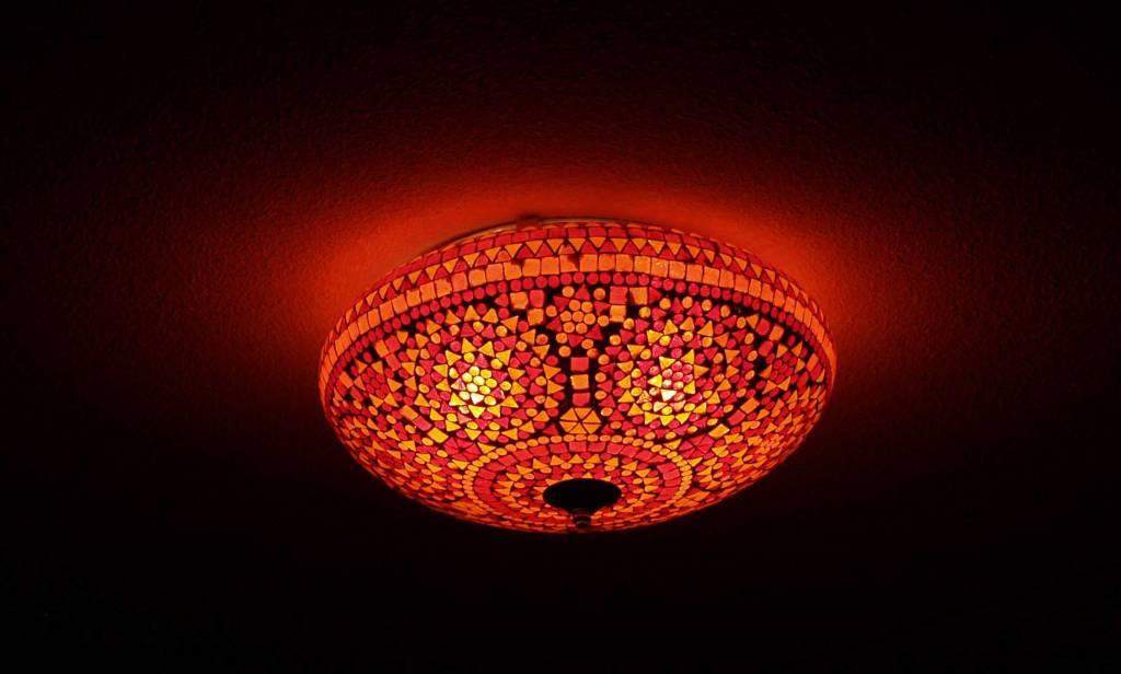 Kleurrijke Lamp Plafonni 232 Re Glas Moza 239 Ek Rood