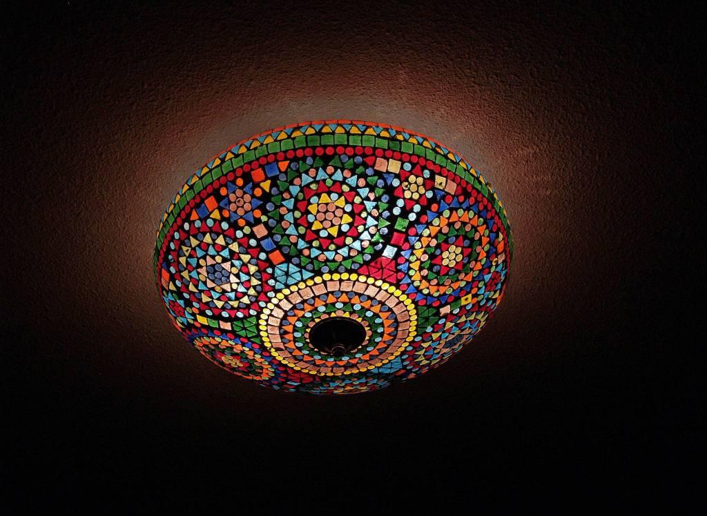 Oosterse plafonniere mozau00efek mulicolor traditioneel design -