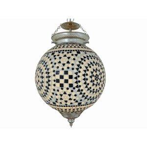 Stoere hanglamp glasmozaïek zwart wit traditioneel design