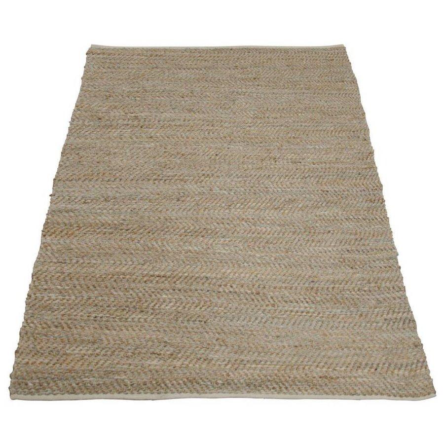 tapijt beige jute en leer 160 x 230 cm