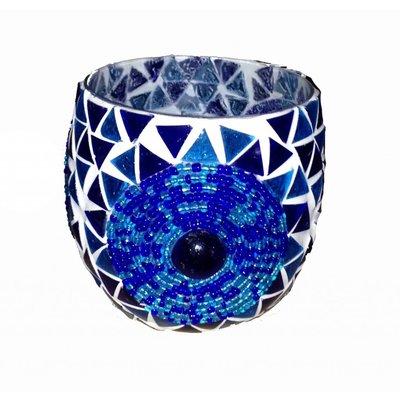 Waxinehouder mozaïek large bol blue beads en triangles
