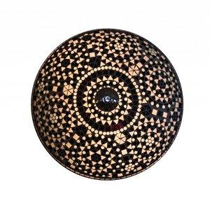 Sfeervolle Plafonnière glasmozaïek zwart wit traditioneel design.