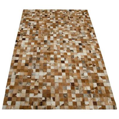 Vloerkleed blokjes vacht en leer 200x300cm