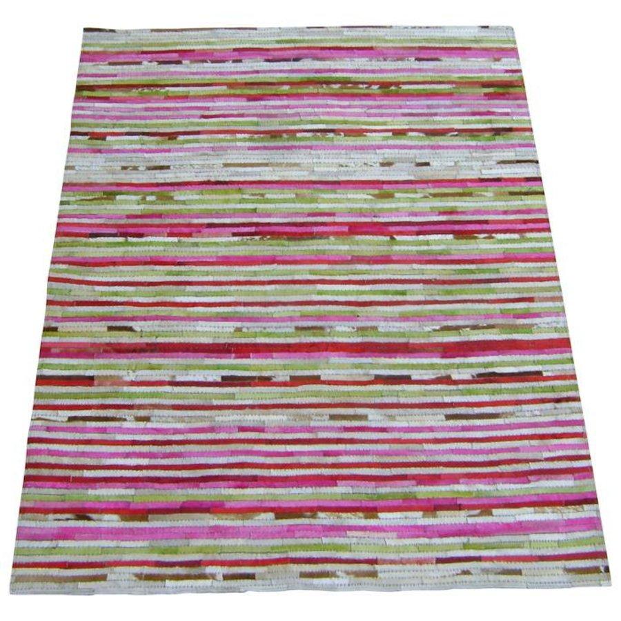 Vloerkleed leder kleurreepjes 160 x 230 cm