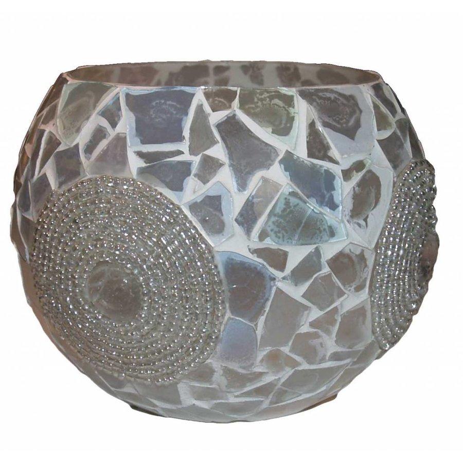 Waxinehouder xxl transparant broken glass en beads