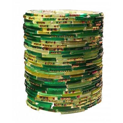 Waxinehouder bangles groen cilinder