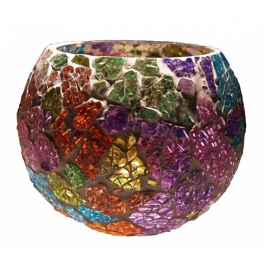 Waxinelichthouder multi colour broken glass