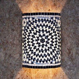 Wandlamp glasmozaïek black&white traditioneel design.
