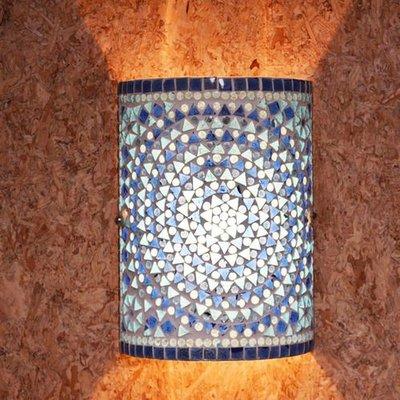 Wandlamp mozaïek blauw traditioneel design