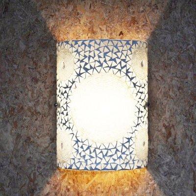 Wandlamp mozaïek transparant beads en triangles