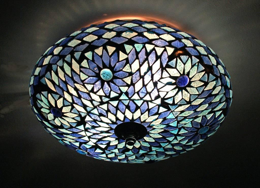 Badkamer Design Lamp : Plafonnière glasmozaïek blauw turkisch design ...