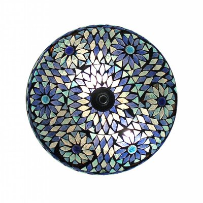 Plafonnière glasmozaïek blauw turkisch design oosterse lamp