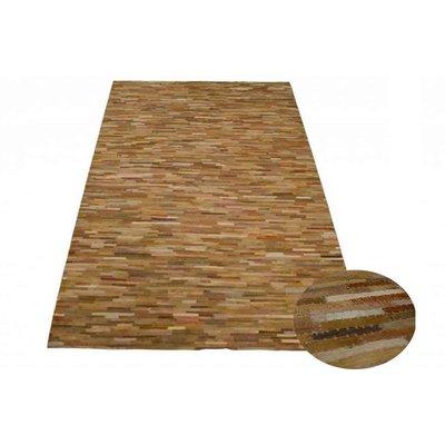 Carpet bruin beige reepjes leer 160x230cm