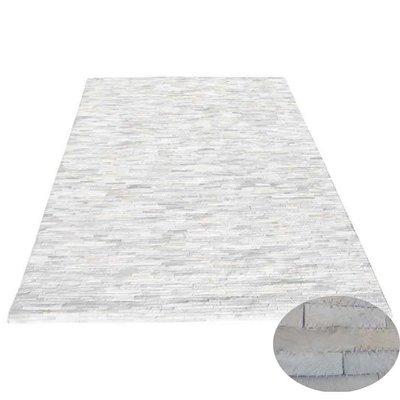 Vloerkleed reepjes leer wit 200 x 300 cm