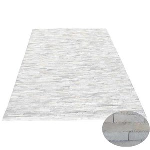 Vloerkleed reepjes leer wit 200x300cm