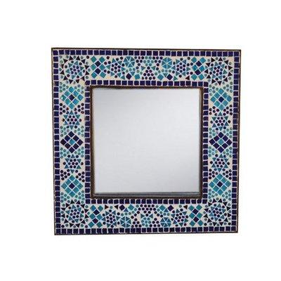 Spiegel glasmozaiek blauw traditioneel
