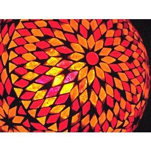Hanglamp mozaïek rood oranje ruit turkisch een vrolijke lamp