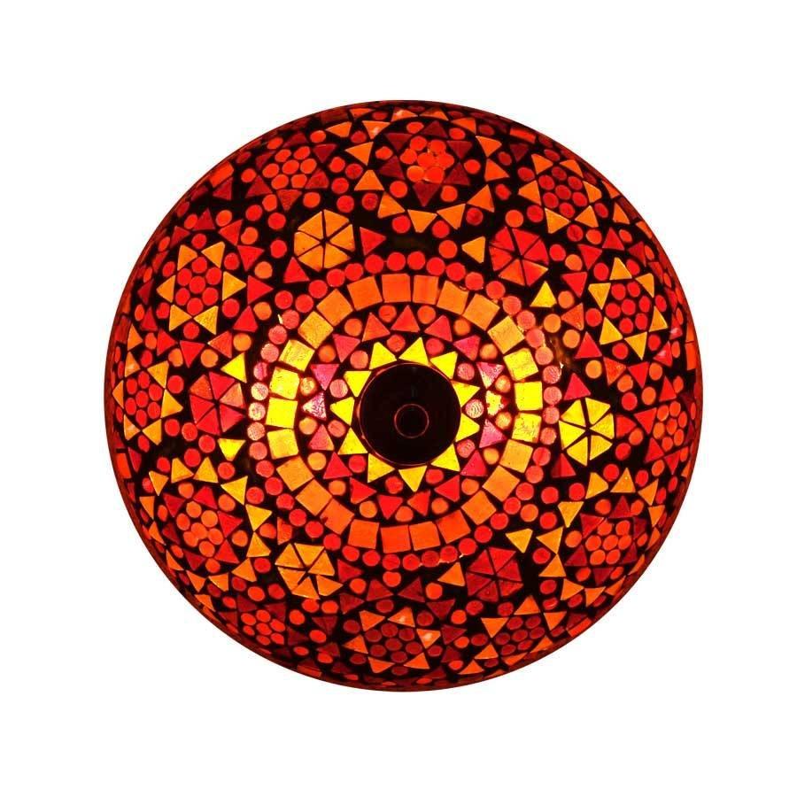 Plafonnière rood traditioneel design uit India een oosterse lamp.