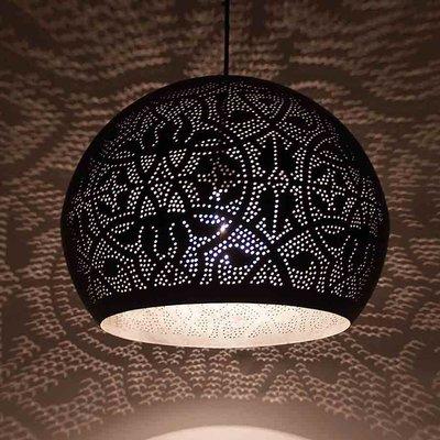 Filigrian ronde bol hanglamp met zilver