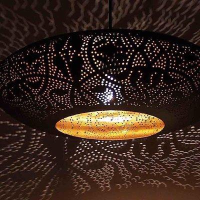 Filigrain hanglamp ufo goud