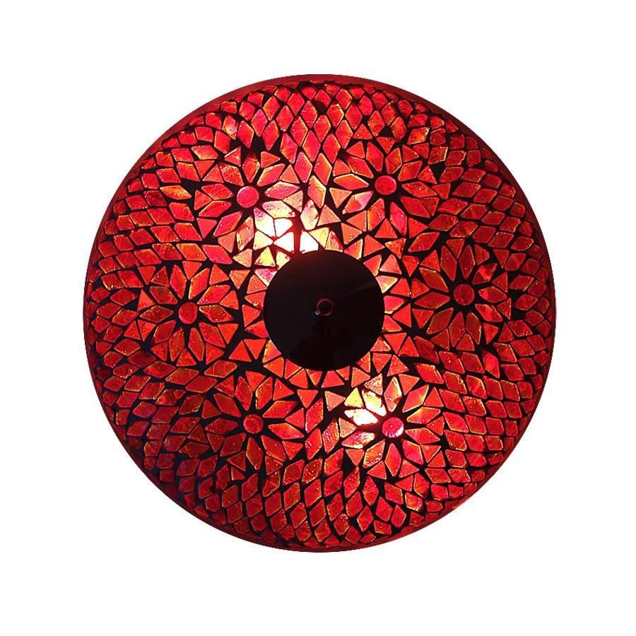 Plafondlamp glasmozaïek rood turkisch design