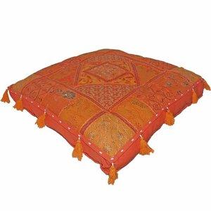 India handgemaakte kussen India oranje met kwasten