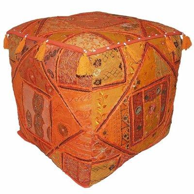 Warme kleurrijke poef oranje vierkant