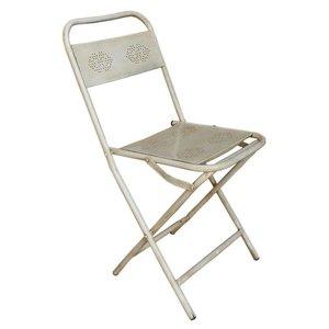 Witte metalen klapstoel
