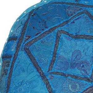Vrolijke poef blauw India handgemaakt