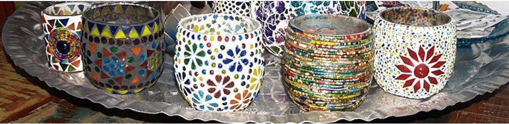 Mozaiek waxinelichthouder in oosterse sfeer